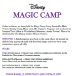 Magic Camp – Disney Auditions for Kids, Disney Movie Major Roles